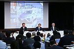 May 8, 2015, Tokyo, Japan - Akio Toyoda, center, president of Japan's Toyota Motor Corp., speaks during a news conference at its head office in Tokyo on Friday, May 8, 2015. The world's top-selling automaker forecasts operating profit will edge up 1.8 percent this year to 2.80 trillion yen. (Photo by Yohei Osada/AFLO)