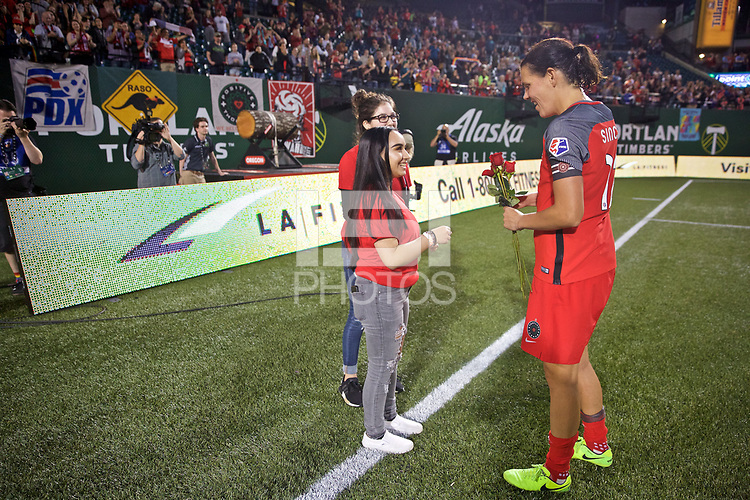 Portland, OR - Saturday June 17, 2017: Christine Sinclair during a regular season National Women's Soccer League (NWSL) match between the Portland Thorns FC and Sky Blue FC at Providence Park.