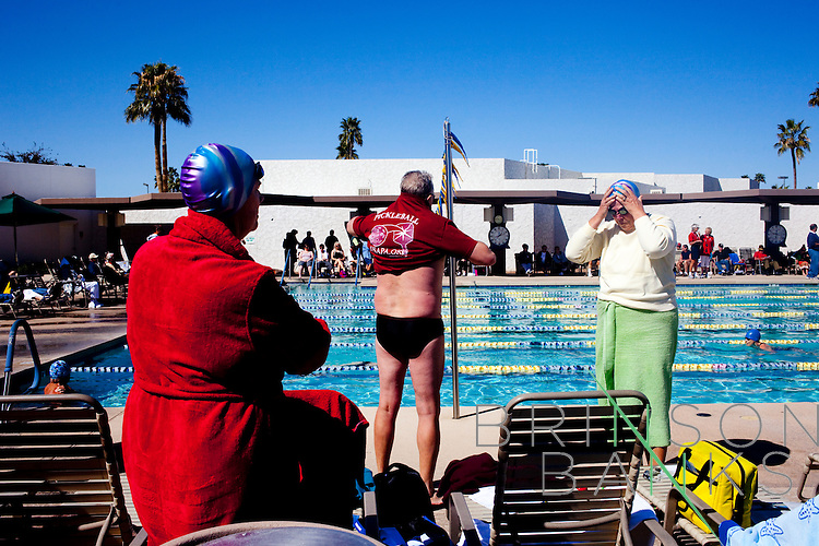 Swim Relays for the Arizona Senior Olympics take place at the Bell Recreation Center pool in Sun City, Arizona March 14, 2010. 2010 marks Sun City the first planned retirement city in the United States' 50th anniversary.