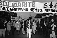 May 1st, 1975 File Photo - Union leaders Louis Laberge and marcel Pepin walk in May 1st- workers day parade in Montreal