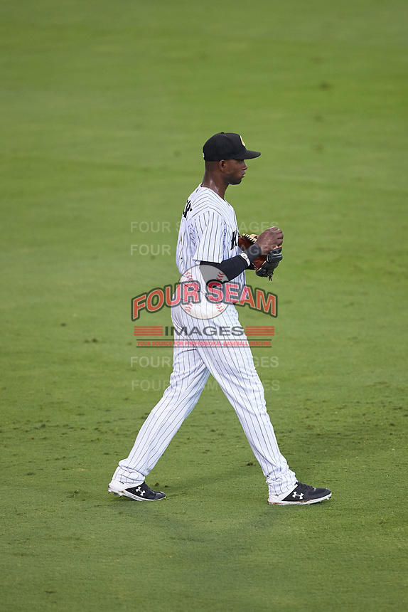 Charlotte Knights center fielder Luis Robert (9) on defense against the Gwinnett Braves at BB&T BallPark on July 12, 2019 in Charlotte, North Carolina. The Stripers defeated the Knights 9-3. (Brian Westerholt/Four Seam Images)