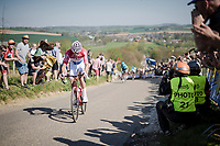 Mathieu Van Der Poel (NED/Correndon-Circus) attacking up the Gulpenerberg<br /> <br /> 54th Amstel Gold Race 2019 (1.UWT)<br /> One day race from Maastricht to Berg en Terblijt (NED/266km)<br /> <br /> ©kramon