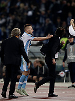 Europa League quarter-final 1st leg <br /> S.S. Lazio - FC Salzburg  Olympic Stadium Rome, April 5, 2018.<br /> Lazio's Ciro Immobile (l) celebrates after scoring with his coach Simone Inzaghi (r) during the Europa League match between Lazio and Salzburg at Rome's Olympic stadium, April 5, 2018.<br /> UPDATE IMAGES PRESS/Isabella Bonotto