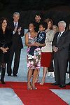 Tamara Tunie, Rhonda Ross, her son Rai, Donald Trump, Lundgrens, skaters at the 2012 Skating with the Stars - a benefit gala for Figure Skating in Harlem celebrating 15 years on April 2, 2012 at Central Park's Wollman Rink, New York City, New York.  (Photo by Sue Coflin/Max Photos)
