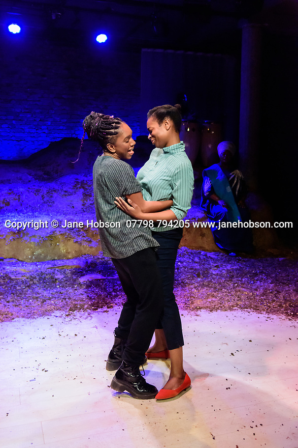 London, UK. 10.02.2020. The Bush Theatre & Birmingham Repertory Theatre present the debut play by Temi Wilkey, at the Bush Theatre. Directed by Daniel Bailey, with lighting design by Jose Tevar, set & costume design by Natasha Jenkins, and movement direction by Gabrielle Nimmo. Picture shows: Cherrelle Skeete (as Tara), Ibinabo Jack (as Leah). Photograph © Jane Hobson.