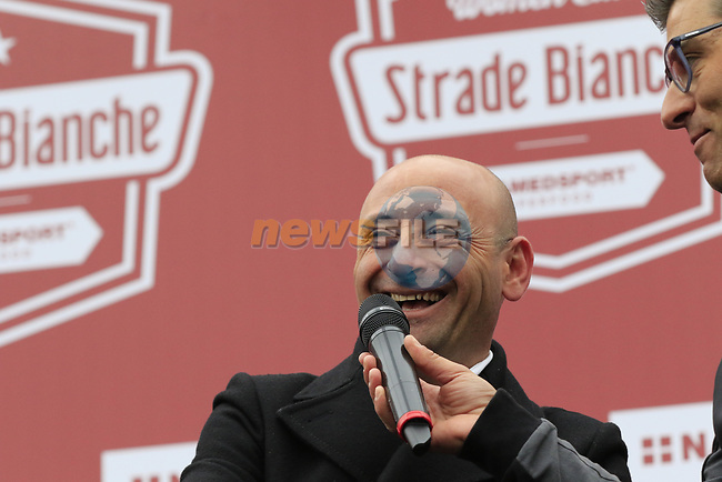 Former Champion Paolo Bettini (ITA) at sign on before the start of the 2017 Strade Bianche running 175km from Siena to Siena, Tuscany, Italy 4th March 2017.<br /> Picture: Eoin Clarke | Newsfile<br /> <br /> <br /> All photos usage must carry mandatory copyright credit (&copy; Newsfile | Eoin Clarke)