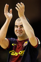 FC Barcelona Alusport's Wilde Gomes celebrates the victory after Spanish National Futsal League match.November 24,2012. (ALTERPHOTOS/Acero) /NortePhoto