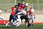 Palos Verdes, CA 11/10/10 - Matt Lopes(Palos Verdes # 29) and Isaac Kuo (Peninsula #28) in action during the junior varsity football game between Peninsula and Palos Verdes at Palos Verdes High School.