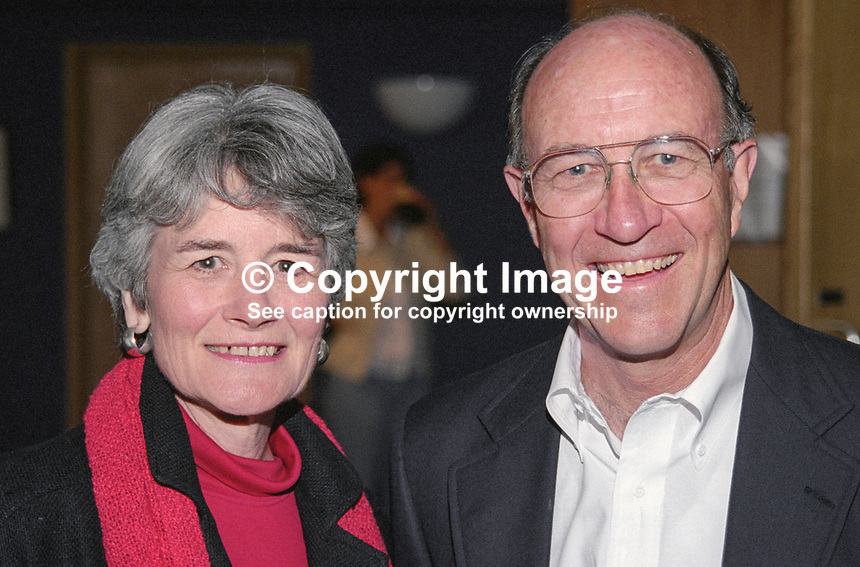 Michael J Sullivan, US Ambassador to Rep of Ireland, with his wife, Jane, at Yeats International Summer School, Sligo. Ref: 199908061.<br />