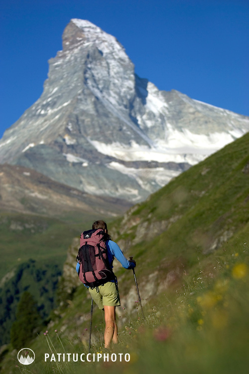 Janine Patitucci hiking in Zermatt, Switzerland with the Matterhorn in the background