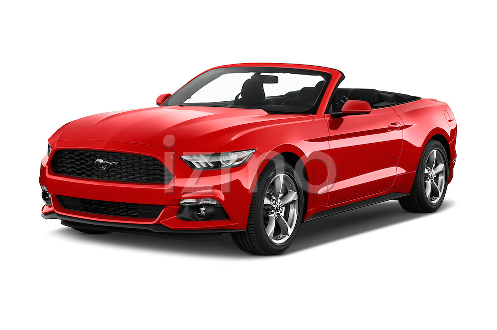 2016 Ford Mustang V6 2 Door Convertible Angular Front stock photos of front three quarter view