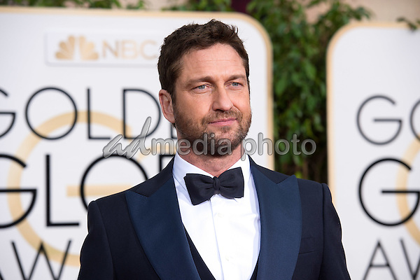 Gerard Butler, presenter, arrives at the 73rd Annual Golden Globe Awards at the Beverly Hilton in Beverly Hills, CA on Sunday, January 10, 2016. Photo Credit: HFPA/AdMedia