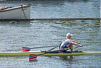 """Henley on Thames, United Kingdom, 7th July 2018, Friday, View,  NOR M1X, """"K. BORCH"""", from the """"Regatta Enclosure, """"Fourth day"""", of the annual,  """"Henley Royal Regatta"""", Henley Reach, River Thames, Thames Valley, England, © Peter SPURRIER,"""
