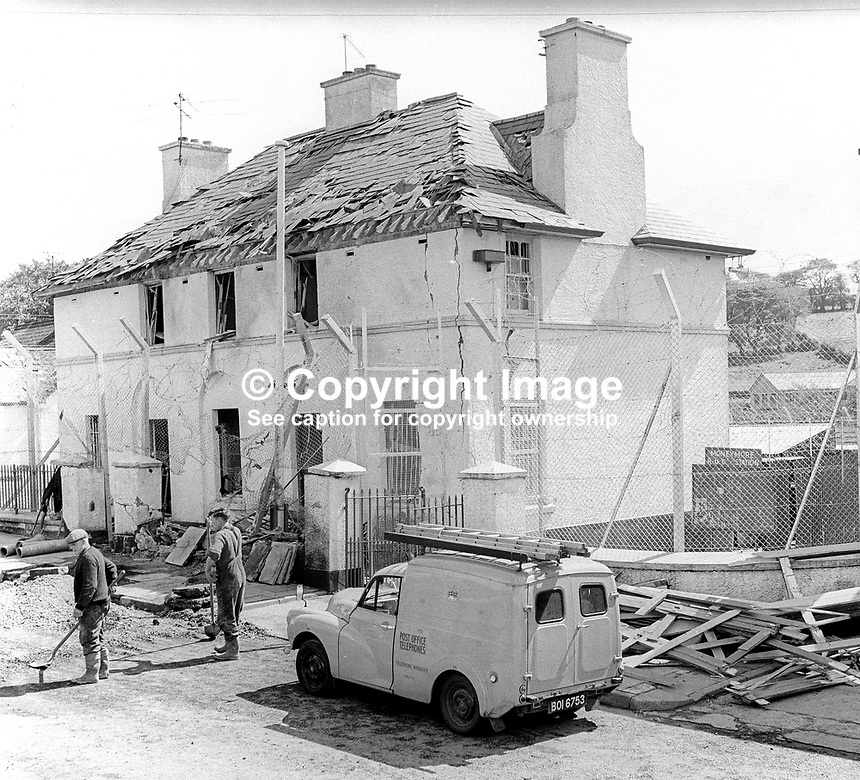 RUC station, Moneymore, Co Londonderry, N Ireland, following Provisional IRA bomb attack, May 1972. Extensive damage but no injuries. 197205000319<br /> <br /> Copyright Image from Victor Patterson, 54 Dorchester Park, Belfast, UK, BT9 6RJ<br /> <br /> t1: +44 28 9066 1296<br /> t2: +44 28 9002 2446<br /> m: +44 7802 353836<br /> <br /> e1: victorpatterson@me.com<br /> e2: victorpatterson@gmail.com<br /> <br /> www.victorpatterson.com<br /> <br /> IMPORTANT: Please see my Terms and Conditions of Use at www.victorpatterson.com