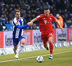 19.01.2020, OLympiastadion, Berlin, GER, DFL, 1.FBL, Hertha BSC VS. Bayern Muenchen, <br /> DFL  regulations prohibit any use of photographs as image sequences and/or quasi-video<br /> im Bild Lukas Kluenter (Hertha BSC Berlin #13), Ivan Perisic(FC Bayern Muenchen #14)<br /> <br />       <br /> Foto © nordphoto / Engler