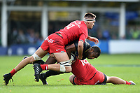 Semesa Rokoduguni of Bath Rugby is double-tackled. Heineken Champions Cup match, between Bath Rugby and Stade Toulousain on October 13, 2018 at the Recreation Ground in Bath, England. Photo by: Patrick Khachfe / Onside Images