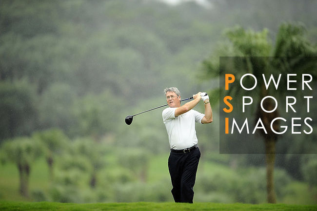 TAIPEI, TAIWAN - NOVEMBER 19: Stephen Bennett of England tees off on the 9th tee during day two of the Fubon Senior Open at Miramar Golf & Country Club on November 19, 2011 in Taipei, Taiwan. Photo by Victor Fraile / The Power of Sport Images