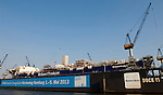 Hamburg-Germany - May 04, 2013 -- Port of Hamburg / harbour at the river Elbe: Dock 11 of Blohm + Voss, Infrastructure / evangelischer Kirchentag -- Photo: © HorstWagner.eu