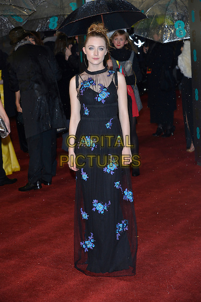 Saoirse Ronan.EE British Academy Film Awards at The Royal Opera House, London, England 10th  February 2013.BAFTA BAFTAS arrivals full length dress sleeveless black blue purple floral print embroidered sheer hair up.CAP/PL.©Phil Loftus/Capital Pictures