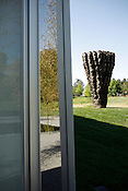 "Exterior view of the facility with the new commission by Ursula van Rydingsvard, ""Ogromna,"" in the background."