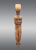 Female Cycladic statue figurine with folded arms of the Spedos and Dokathismata type. Early Cycladic Period II (2800-3200) from Naxos. National Archaeological Museum, Athens.   Grey background.<br /> <br /> <br /> This Cycladic statue figurine is of the Spedos type standing on tip tie with bended knees and arms folded under the breasts with head raiised.