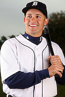 February 27, 2010:  Catcher Mike Rabelo (71) of the Detroit Tigers poses for a photo during media day at Joker Marchant Stadium in Lakeland, FL.  Photo By Mike Janes/Four Seam Images