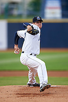 Lake County Captains pitcher Thomas Pannone (23) delivers a pitch during a game against the Fort Wayne TinCaps on May 20, 2015 at Classic Park in Eastlake, Ohio.  Lake County defeated Fort Wayne 4-3.  (Mike Janes/Four Seam Images)