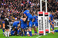 France celebrate as they win the RBS Six Nations match between France and England at Stade de France on March 10, 2018 in Paris, France. (Photo by Dave Winter/Icon Sport)