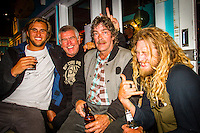 Torquay, Victoria/Australia (Monday, April 9, 2012) Damien Fahrenfort (ZAF) Phil Jarratt (AUS), Tommy Peterson (AUS) and Ryan Heyworth (AUS).  The 500th Issue Tracks party at Growlers Restaurant in Torquay attended by past editors Phil Jarratt (AUS), Gary Dunne (AUS),Neil Ridgway (AUS), current editor Luke Kennedy (AUS) surfers and friends of the magazine.Photo: joliphotos.com
