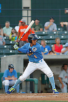Myrtle Beach Pelicans infielder Carlos Penalver (1) in action during a game against the Frederick Keys at Ticketreturn.com Field at Pelicans Ballpark on May 21, 2015 in Myrtle Beach, South Carolina.  Frederick defeated Myrtle Beach 4-3. (Robert Gurganus/Four Seam Images)