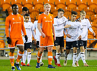 Derby County's Kornell McDonald (centre) celebrates scoring the opening goal with teamates<br /> <br /> Photographer Alex Dodd/CameraSport<br /> <br /> The FA Youth Cup Third Round - Blackpool U18 v Derby County U18 - Tuesday 4th December 2018 - Bloomfield Road - Blackpool<br />  <br /> World Copyright © 2018 CameraSport. All rights reserved. 43 Linden Ave. Countesthorpe. Leicester. England. LE8 5PG - Tel: +44 (0) 116 277 4147 - admin@camerasport.com - www.camerasport.com