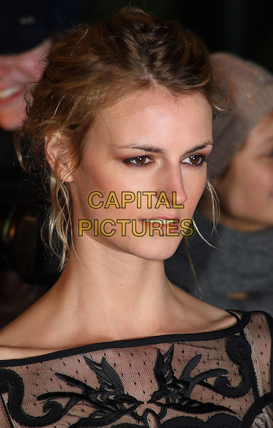 JACQUETTA WHEELER .Arrivals at The Love Ball, the Roundhouse, Camden, London , England, UK, February 23rd 2010.portrait headshot black hair up profile sheer patterned pattern .CAP/JIL.©Jill Mayhew/Capital Pictures.