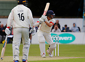 June 11th 2017, Trafalgar Road Ground, Southport, England; Specsavers County Championship Division One; Day Three; Lancashire versus Middlesex; Ryan McLaren of Lancashire plays a shot to the offside as he and Jordan Clark put on a half century stand for the seventh wicket this morning ; Lancashire resumed at 123-4 in reply to Middlesex's first innings score of 180 all out