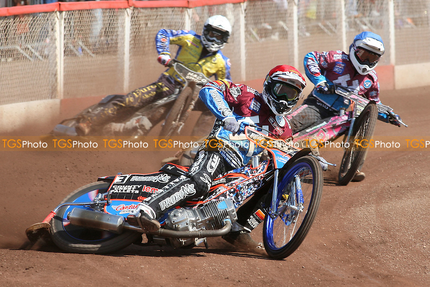 Heat 3: Davey Watt (red) ahead of Rob Mear (blue) and Simon Gustafsson - Lakeside Hammers vs Eastbourne Eagles - Sky Sports Elite League Speedway at Arena Essex Raceway, Purfleet - 06/04/12 - MANDATORY CREDIT: Gavin Ellis/TGSPHOTO - Self billing applies where appropriate - 0845 094 6026 - contact@tgsphoto.co.uk - NO UNPAID USE.