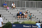 18 September 2009: Duke head coach Robbie Church (above, in white), assistant coach Billy Lesesne (left) and several players (below) watch the game. The University of North Carolina Tar Heels defeated the Louisiana State University Tigers 1-0 at Koskinen Stadium in Durham, North Carolina in an NCAA Division I Women's college soccer game.