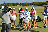 Friends and family rush the green to congratulate Cheyenne Knight (USA) for winning the 2019 Volunteers of America Texas Classic, the Old American Golf Club, The Colony, Texas, USA. 10/6/2019.<br /> Picture: Golffile | Ken Murray<br /> <br /> <br /> All photo usage must carry mandatory copyright credit (© Golffile | Ken Murray)