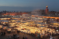 Stalls in Djemma el Fna square and marketplace at night, Medina, Marrakech, Morocco. Picture by Manuel Cohen