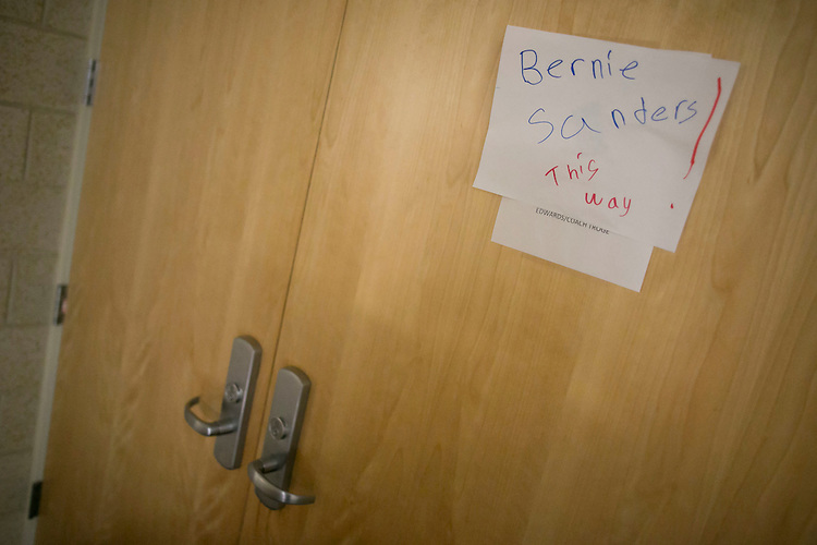 "UNITED STATES - August 16: A sign designates where Sen. Bernie Sanders, D-Vt., will speak at the Loras College Athletic and Wellness Center in Dubuque, Iowa, on Sunday, August 16, 2015. The ""town meeting,"" was the fourth campaign event of the day for Sanders. (Photo By Al Drago/CQ Roll Call)"