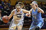 GRAND RAPIDS, MI - MARCH 18: Jackie Nagle (32) of Amherst College drives to the basket past Michela North (24) of Tufts University during the Division III Women's Basketball Championship held at Van Noord Arena on March 18, 2017 in Grand Rapids, Michigan. Amherst defeated 52-29 for the national title. (Photo by Brady Kenniston/NCAA Photos via Getty Images)