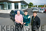 Noel O Connor of Adams Garage Tralee, Handing over Keys to Paul Geaney on Thursday Pictured here with Kerry Manager Eamonn Fitzmaurice