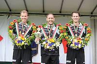 KAATSEN: DONGJUM: 29-05-2016, Hoofdklasse heren Dongjum, Gert-Anne van der Bos, Daniël Iseger (koning), Taeke Triemstra, ©foto Martin de Jong