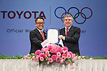 (L-R)  Akio Toyoda (President and CEO of Toyota Motor Corporation), Thomas Bach (President of the International Olympic Committee) appear at a ceremony on MARCH 13, 2015 in Tokyo, Japan to announce Toyota's sponsorship of the Olympic movement. News conference to announce an agreement on Toyota an official top-ranked Olympic sponsorship in Tokyo, Japan.  (Photo by Yohei Osada/AFLO SPORT) [1156]