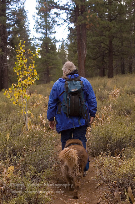 Hiker and his dog hiking the Sagehen Creek Trail, Tahoe National Forest California