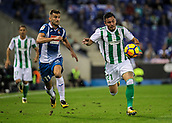 30th October 2017, Cornella-El Prat, Cornella de Llobregat, Barcelona, Spain; La Liga football, Espanyol versus Real Betis; Leo Baptistao of RCD Espanyol chases Tosca of Real Betis;
