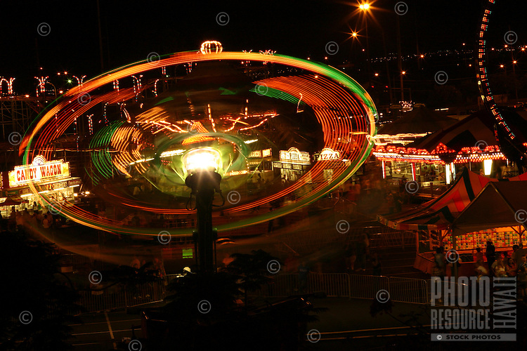 Long-exposure of carnival ride at the 50th State Fair on Oahu, Hawaii.