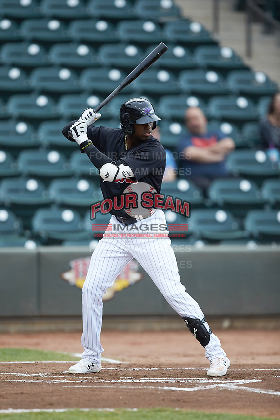 Luis Robert (21) of the Winston-Salem Dash at bat against the Wilmington Blue Rocks at BB&T Ballpark on April 17, 2019 in Winston-Salem, North Carolina. The Blue Rocks defeated the Dash 2-1. (Brian Westerholt/Four Seam Images)