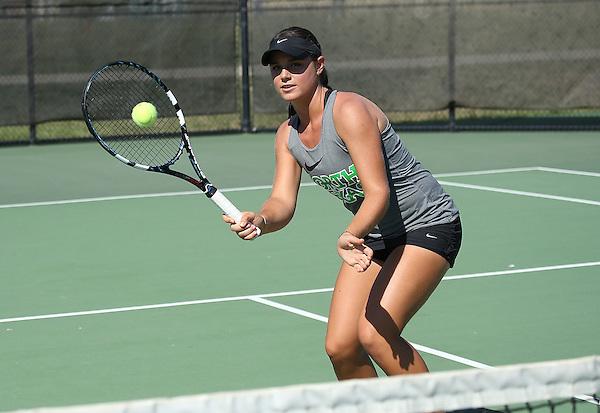 DENTON, TX - SEPTEMBER 23: Ana Sofia Cordero of the North Texas Mean Green Tennis team at Waranch Tennis Center in Denton on September 23, 2014 in Denton, Texas.  (Photo by Rick Yeatts)