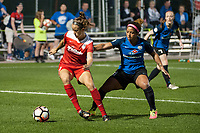 Kansas City, MO - Saturday May 27, 2017: Havana Solaun, Desiree Scott during a regular season National Women's Soccer League (NWSL) match between FC Kansas City and the Washington Spirit at Children's Mercy Victory Field.