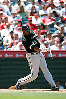 Jermaine Dye of the Chicago White Sox during a 2007 MLB season game against the Los Angeles Angels at Angel Stadium in Anaheim, California. (Larry Goren/Four Seam Images)