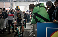 Wout van Aert (BEL/Jumbo - Visma) at the Teams Presentation Start Show<br /> <br /> 75th Omloop Het Nieuwsblad 2020 (1.UWT)<br /> Gent to Ninove (BEL): 200km<br /> <br /> ©kramon
